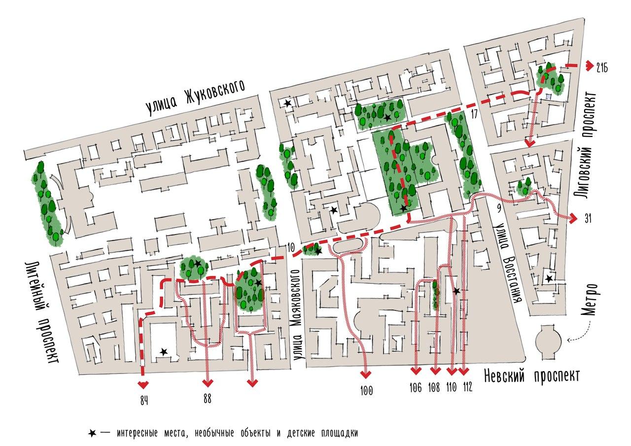 Карты проходных дворов - как пройти по центру Петербурга