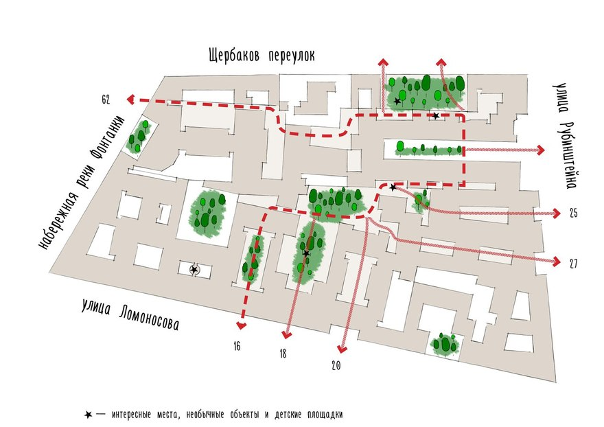 Карты проходных дворов - пешеходные маршруты Петербурга